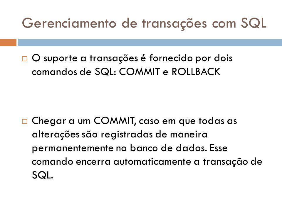 Gerenciamento de transações com SQL