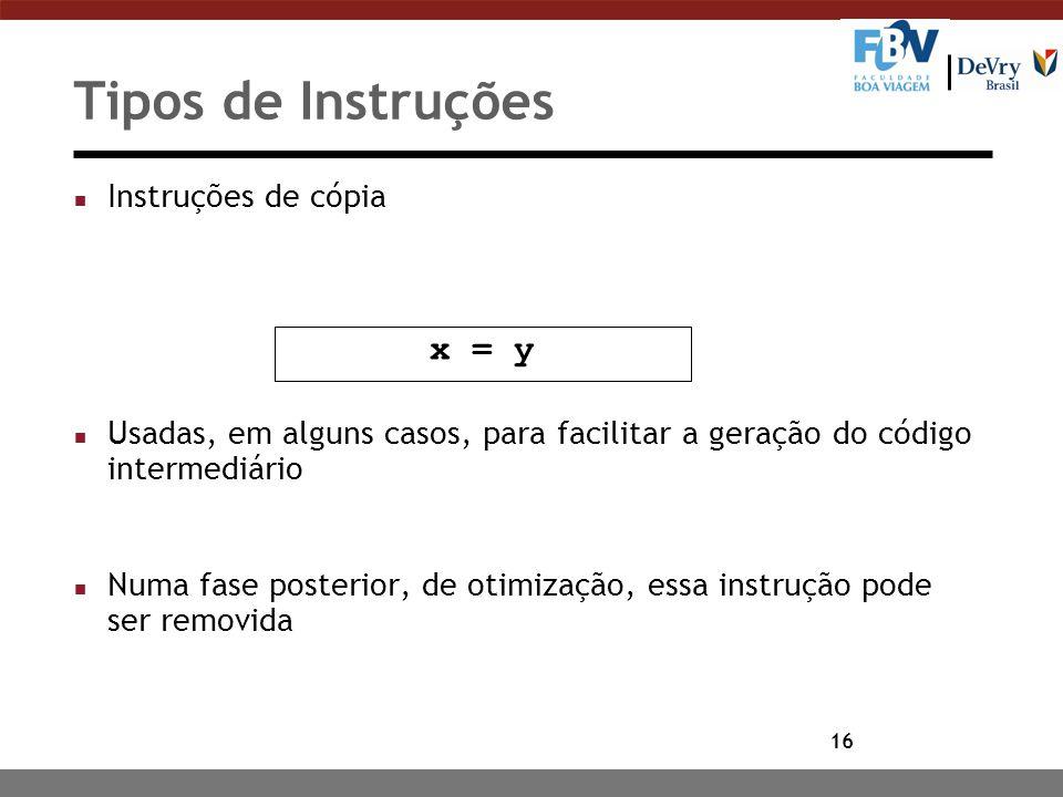Tipos de Instruções x = y Instruções de cópia