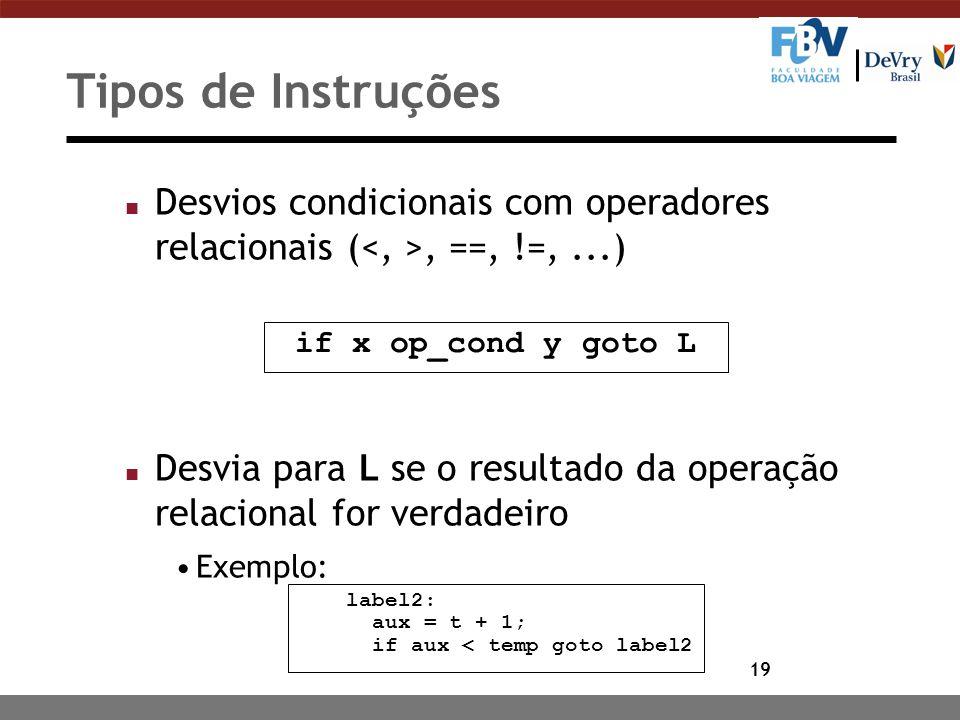 Tipos de Instruções Desvios condicionais com operadores relacionais (<, >, ==, !=, ...)