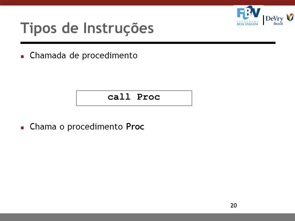 Tipos de Instruções call Proc Chamada de procedimento