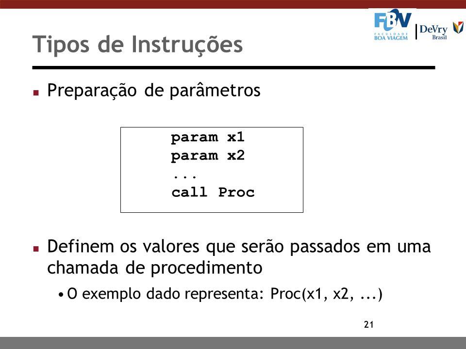 Tipos de Instruções Preparação de parâmetros