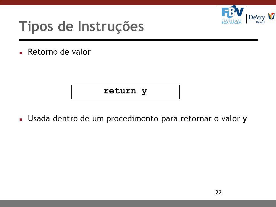 Tipos de Instruções return y Retorno de valor