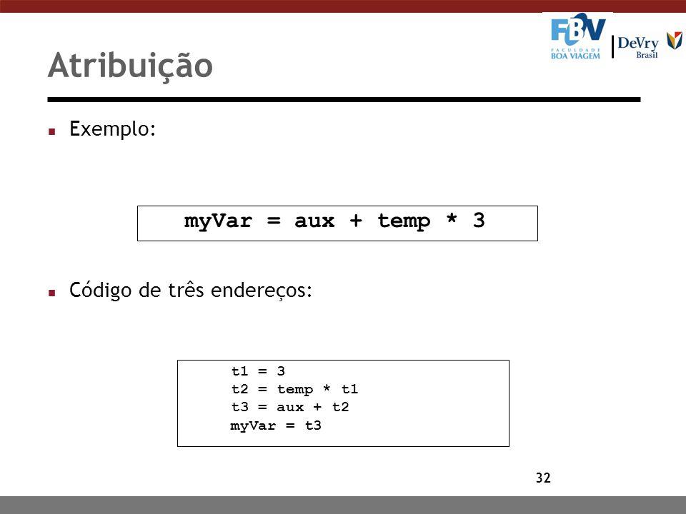 Atribuição myVar = aux + temp * 3 Exemplo: Código de três endereços: