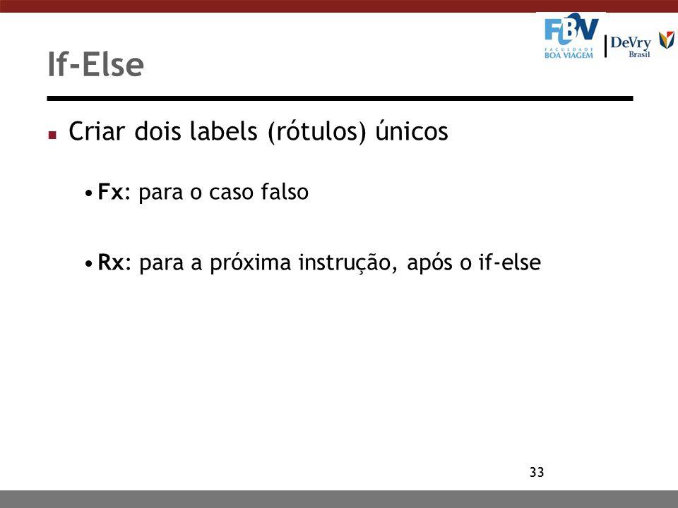 If-Else Criar dois labels (rótulos) únicos Fx: para o caso falso