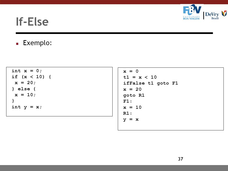If-Else Exemplo: int x = 0; x = 0 if (x < 10) { t1 = x < 10