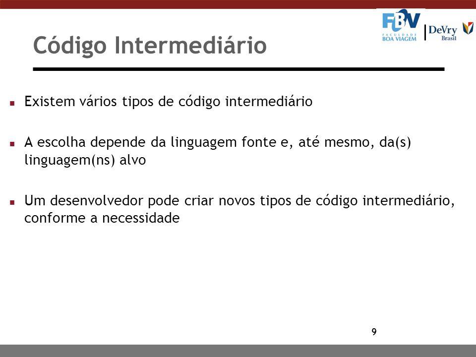 Código Intermediário Existem vários tipos de código intermediário