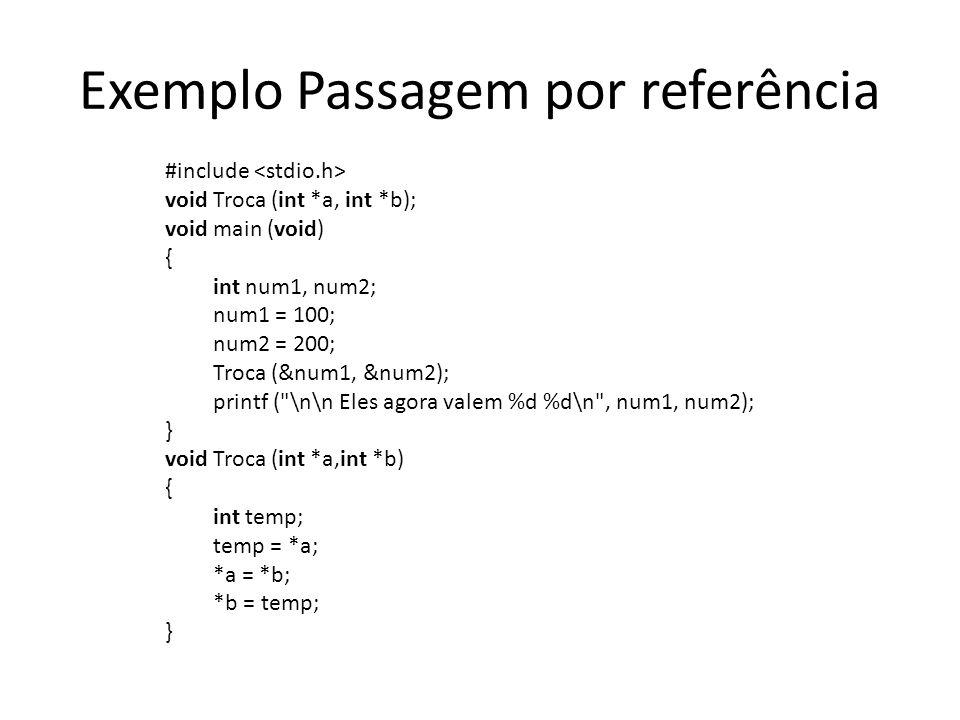 Exemplo Passagem por referência