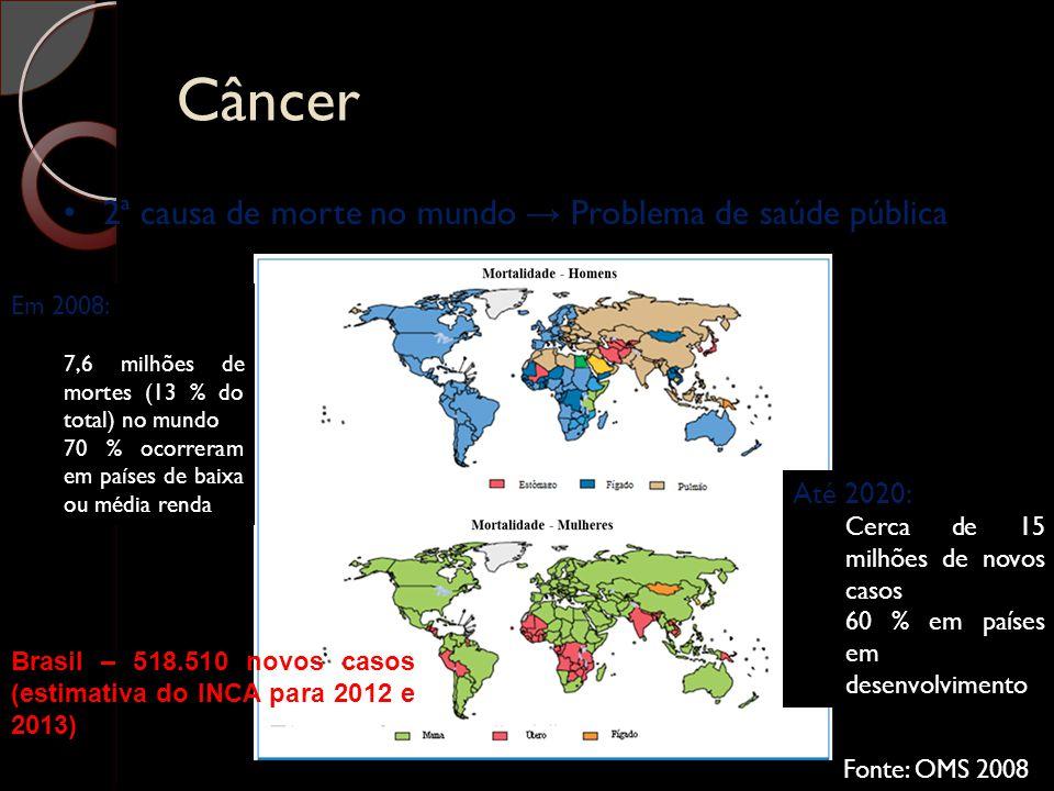 Câncer 2ª causa de morte no mundo → Problema de saúde pública