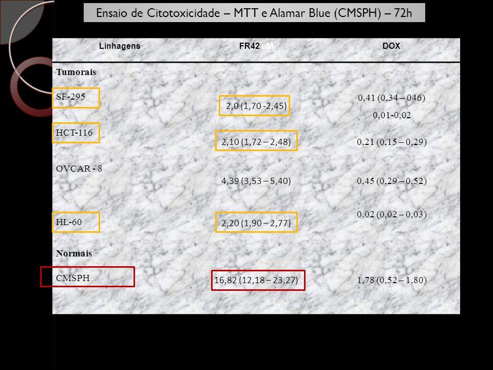 Ensaio de Citotoxicidade – MTT e Alamar Blue (CMSPH) – 72h