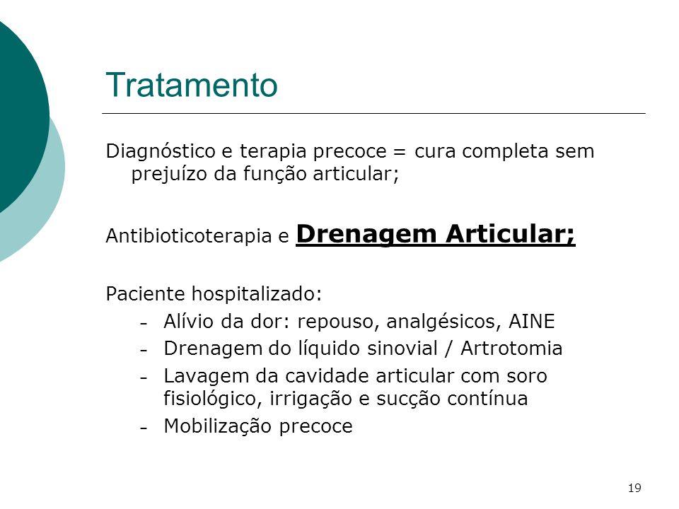 Tratamento Diagnóstico e terapia precoce = cura completa sem prejuízo da função articular; Antibioticoterapia e Drenagem Articular;