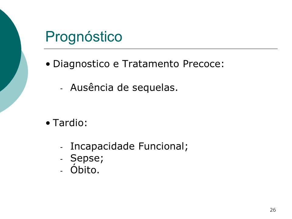 Prognóstico Diagnostico e Tratamento Precoce: Ausência de sequelas.