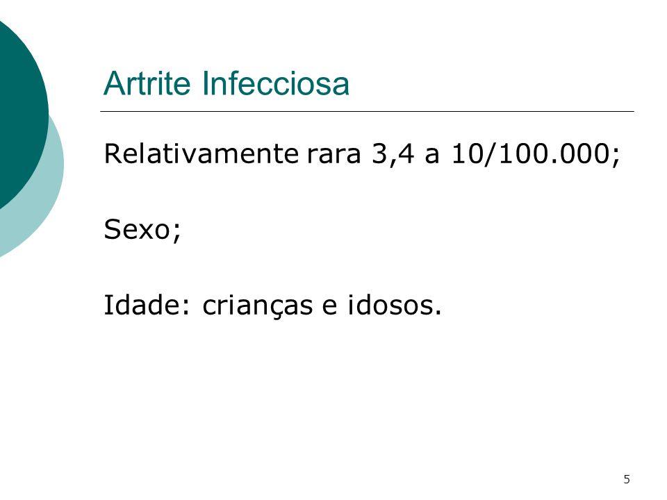 Artrite Infecciosa Relativamente rara 3,4 a 10/100.000; Sexo;