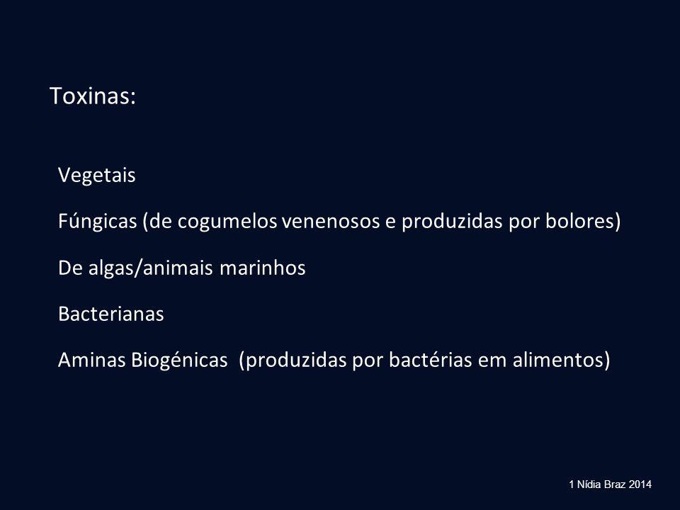 Toxinas: Vegetais. Fúngicas (de cogumelos venenosos e produzidas por bolores) De algas/animais marinhos.