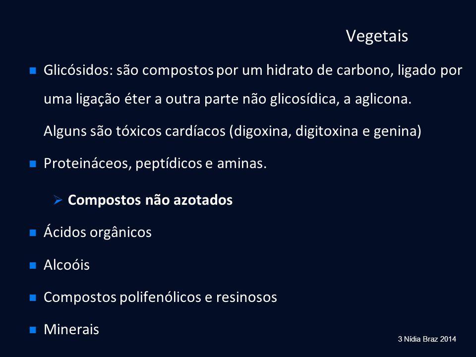 Vegetais Glicósidos: são compostos por um hidrato de carbono, ligado por uma ligação éter a outra parte não glicosídica, a aglicona.