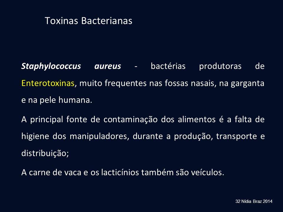 Toxinas Bacterianas Staphylococcus aureus - bactérias produtoras de Enterotoxinas, muito frequentes nas fossas nasais, na garganta e na pele humana.