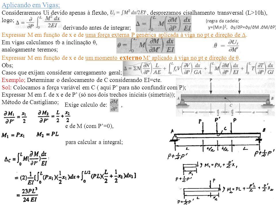 Aplicando em Vigas; Consideraremos Ui devido apenas à flexão, , desprezamos cisalhamento transversal (L>10h),
