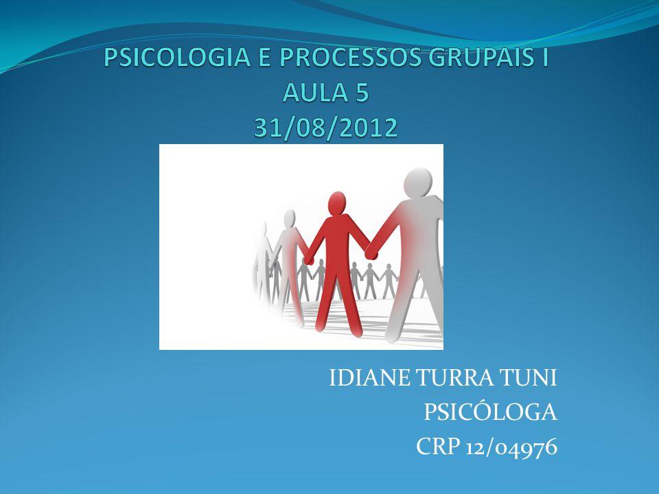 PSICOLOGIA E PROCESSOS GRUPAIS I AULA 5 31/08/2012