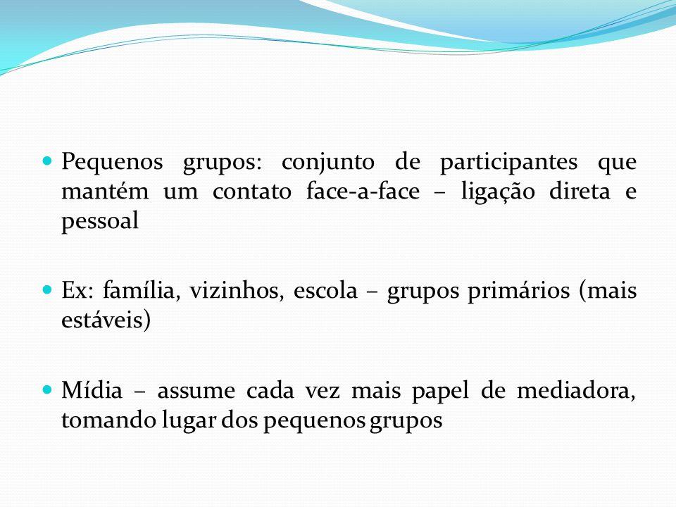Pequenos grupos: conjunto de participantes que mantém um contato face-a-face – ligação direta e pessoal