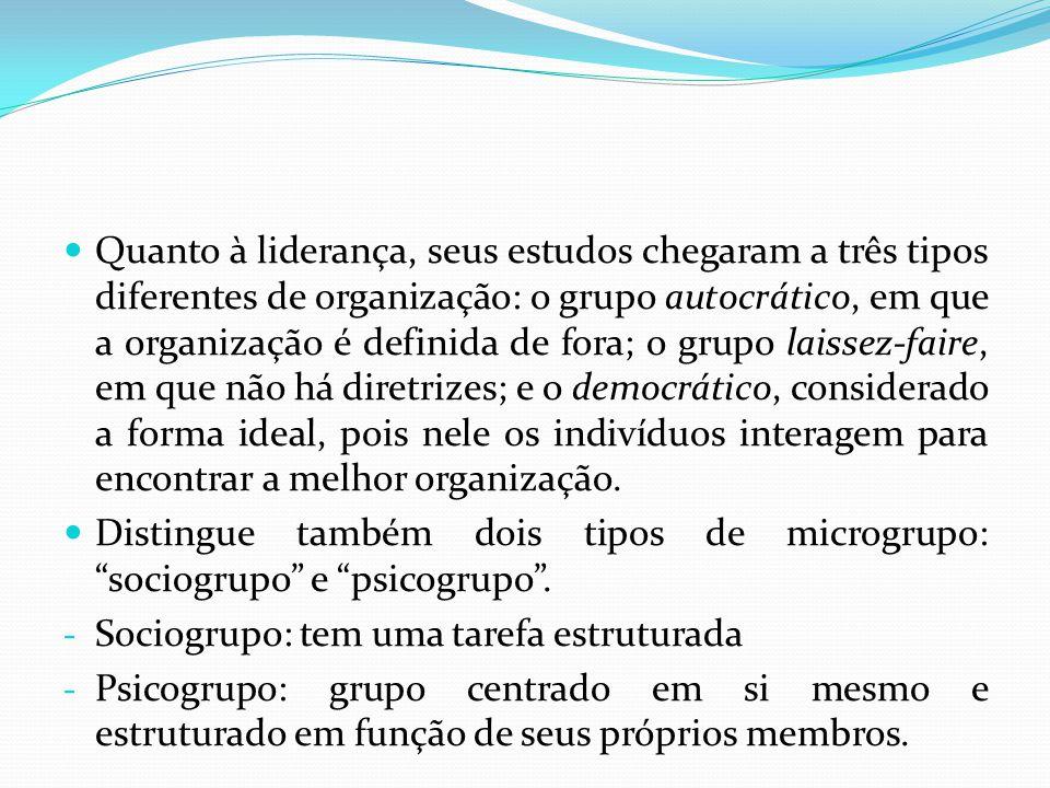 Quanto à liderança, seus estudos chegaram a três tipos diferentes de organização: o grupo autocrático, em que a organização é definida de fora; o grupo laissez-faire, em que não há diretrizes; e o democrático, considerado a forma ideal, pois nele os indivíduos interagem para encontrar a melhor organização.