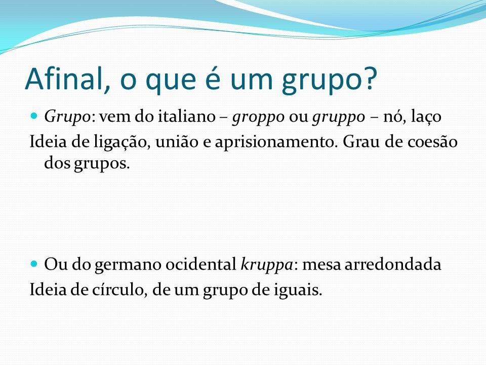 Afinal, o que é um grupo Grupo: vem do italiano – groppo ou gruppo – nó, laço. Ideia de ligação, união e aprisionamento. Grau de coesão dos grupos.