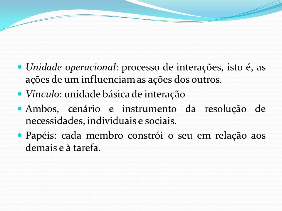 Unidade operacional: processo de interações, isto é, as ações de um influenciam as ações dos outros.