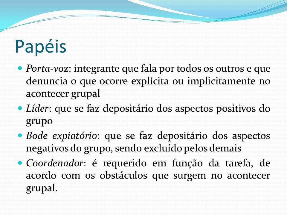 Papéis Porta-voz: integrante que fala por todos os outros e que denuncia o que ocorre explícita ou implicitamente no acontecer grupal.