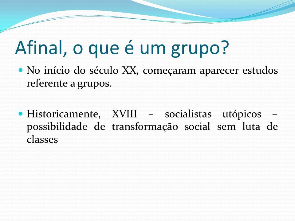 Afinal, o que é um grupo No início do século XX, começaram aparecer estudos referente a grupos.