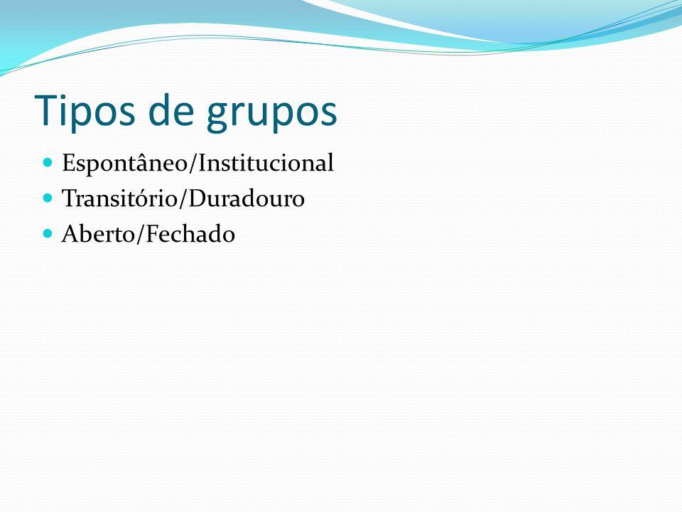 Tipos de grupos Espontâneo/Institucional Transitório/Duradouro