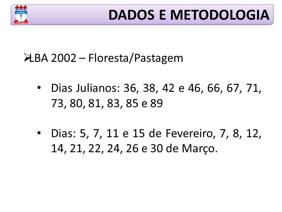 DADOS E METODOLOGIA LBA 2002 – Floresta/Pastagem