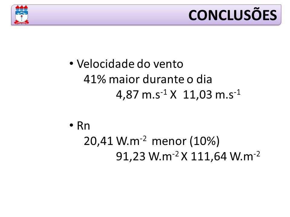 CONCLUSÕES Velocidade do vento 41% maior durante o dia