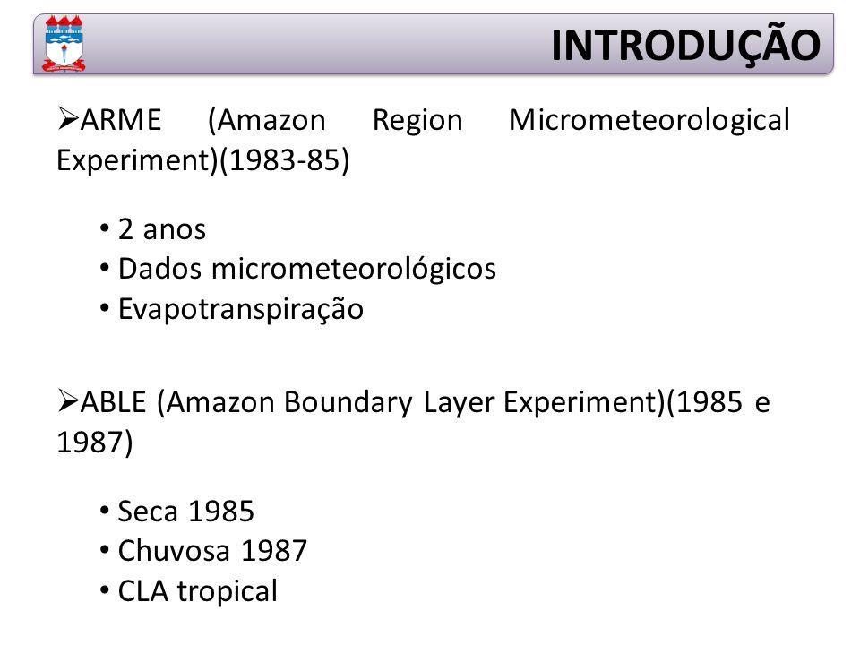 INTRODUÇÃO ARME (Amazon Region Micrometeorological Experiment)(1983-85) 2 anos. Dados micrometeorológicos.