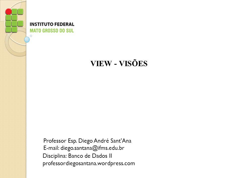 VIEW - VISÕES Professor Esp. Diego André Sant'Ana