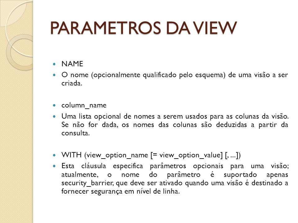 PARAMETROS DA VIEW NAME