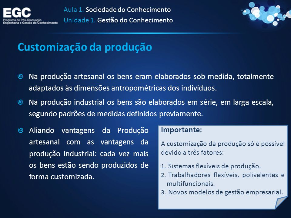 Customização da produção