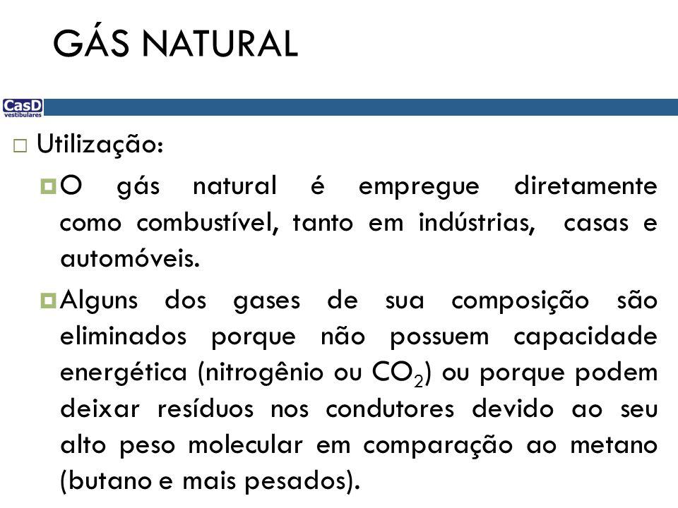 GÁS NATURAL Utilização: