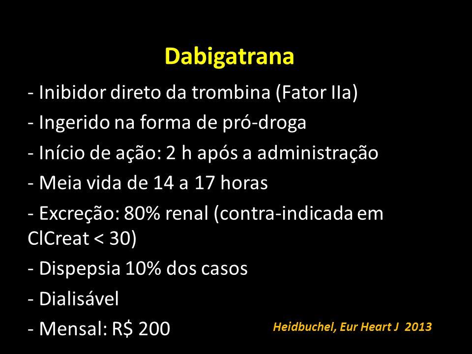 Dabigatrana Inibidor direto da trombina (Fator IIa)
