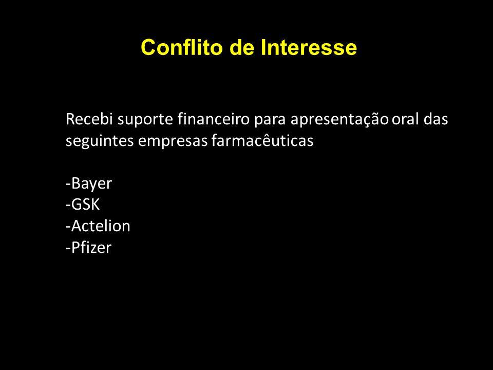 Conflito de Interesse Recebi suporte financeiro para apresentação oral das seguintes empresas farmacêuticas.