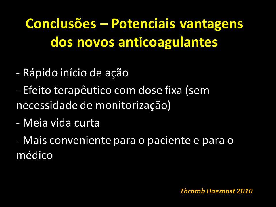 Conclusões – Potenciais vantagens dos novos anticoagulantes