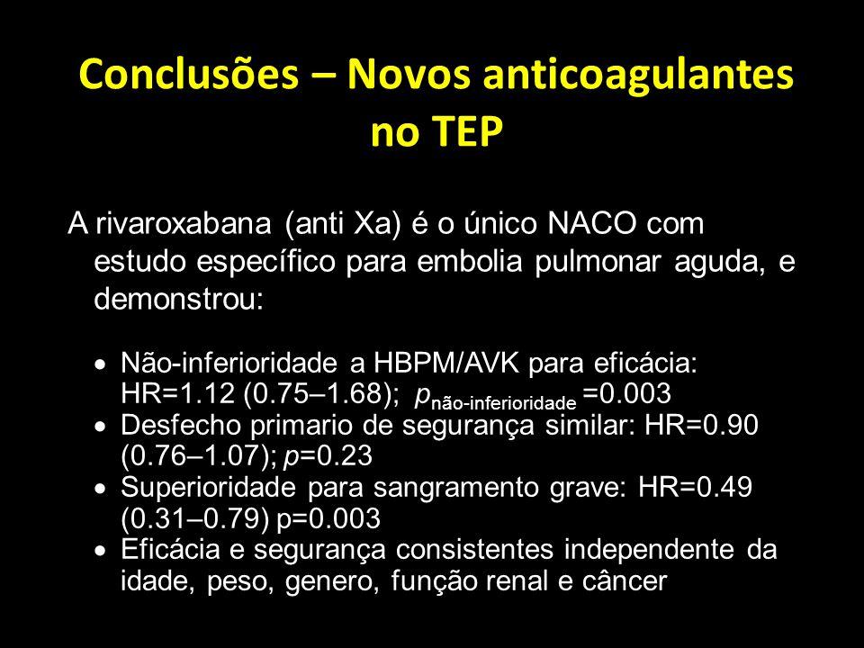 Conclusões – Novos anticoagulantes no TEP
