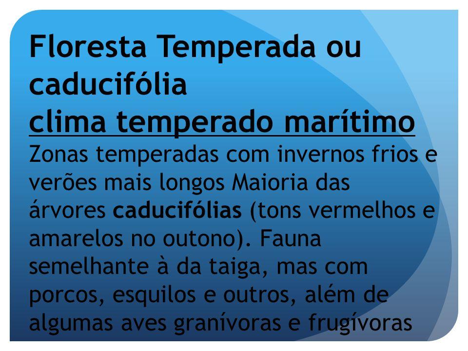 Floresta Temperada ou caducifólia clima temperado marítimo