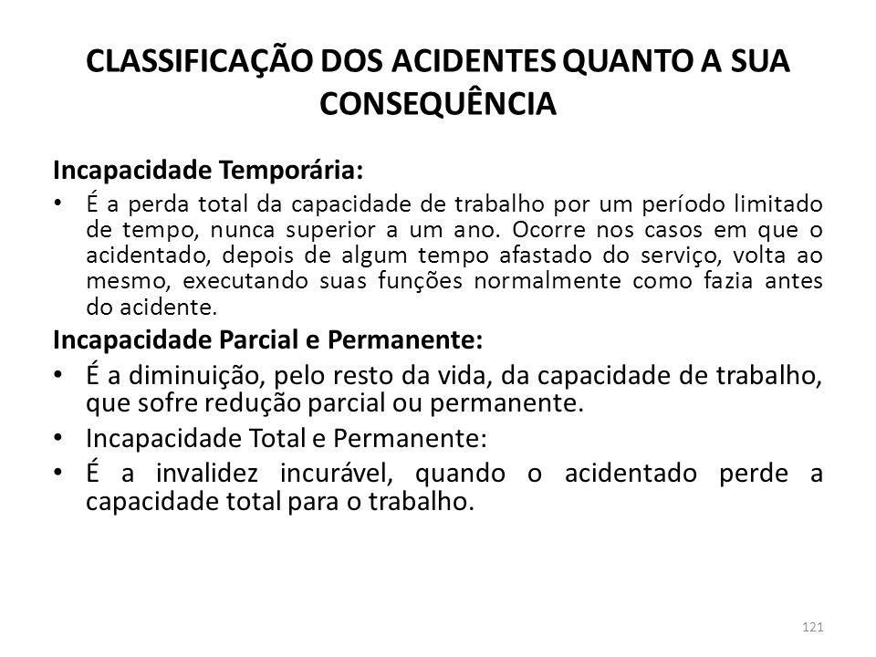 CLASSIFICAÇÃO DOS ACIDENTES QUANTO A SUA CONSEQUÊNCIA
