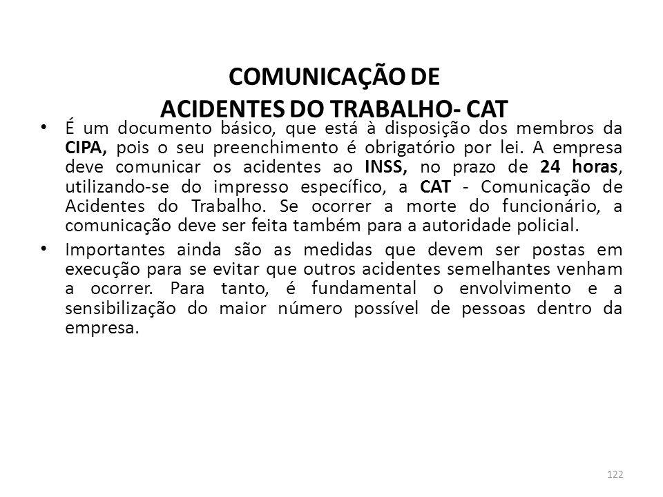 COMUNICAÇÃO DE ACIDENTES DO TRABALHO- CAT