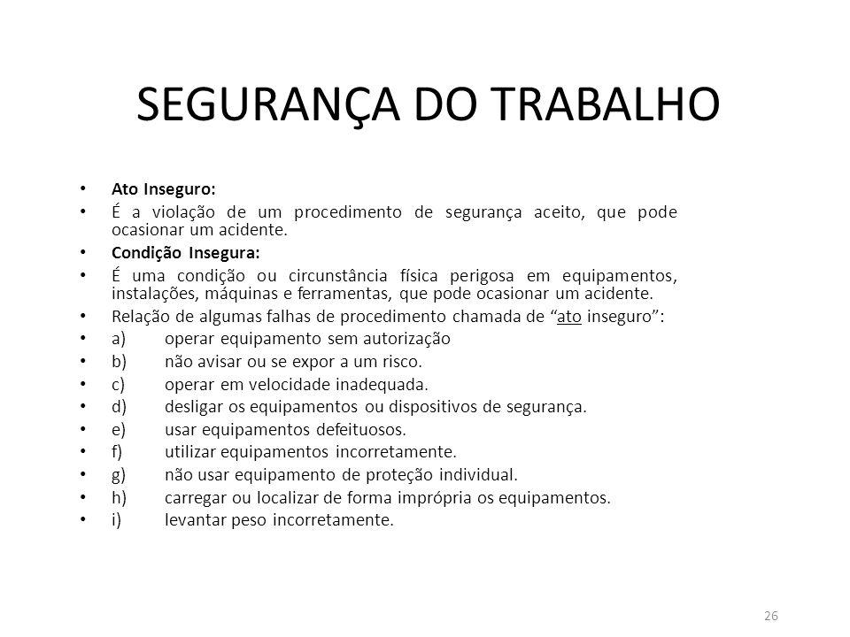 SEGURANÇA DO TRABALHO Ato Inseguro: