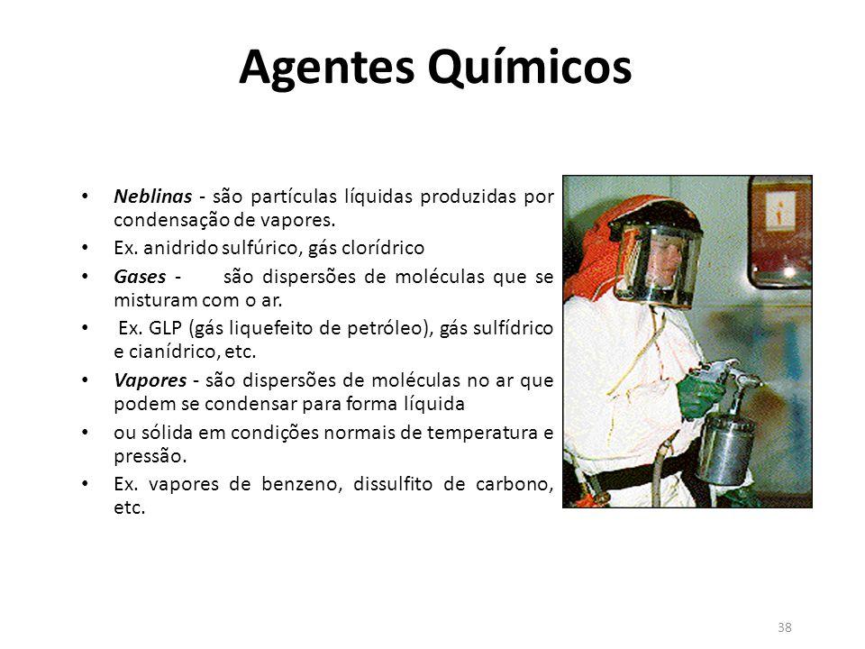 Agentes Químicos Neblinas - são partículas líquidas produzidas por condensação de vapores. Ex. anidrido sulfúrico, gás clorídrico.