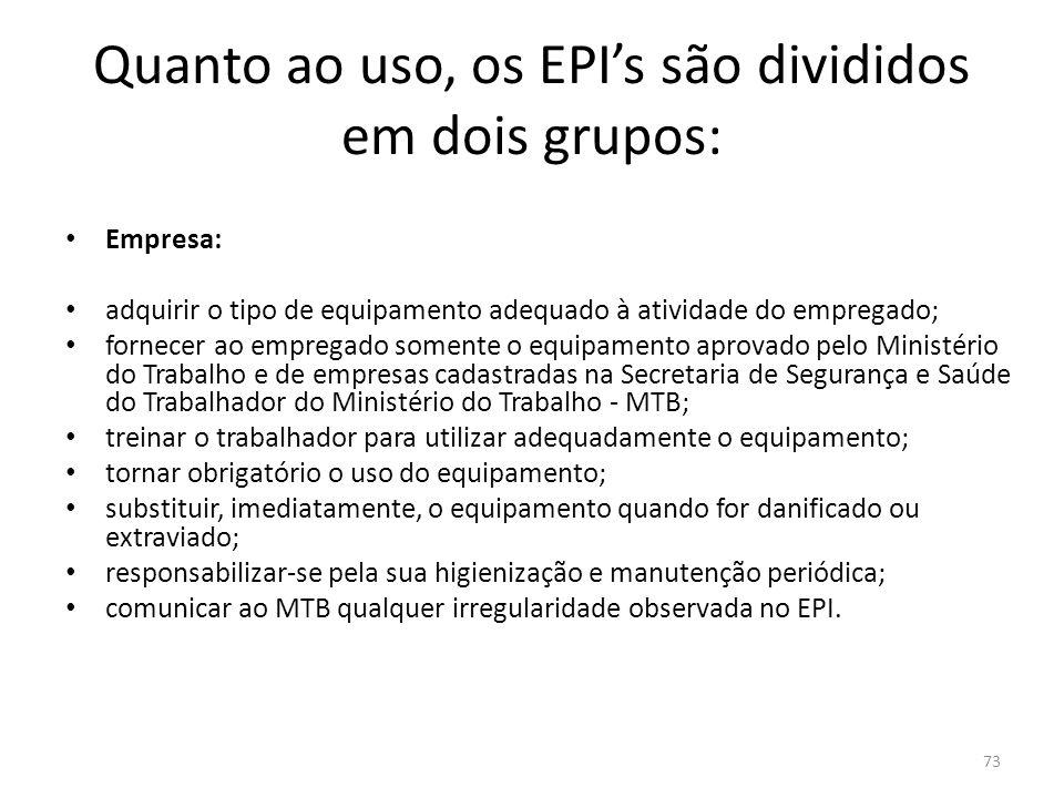 Quanto ao uso, os EPI's são divididos em dois grupos: