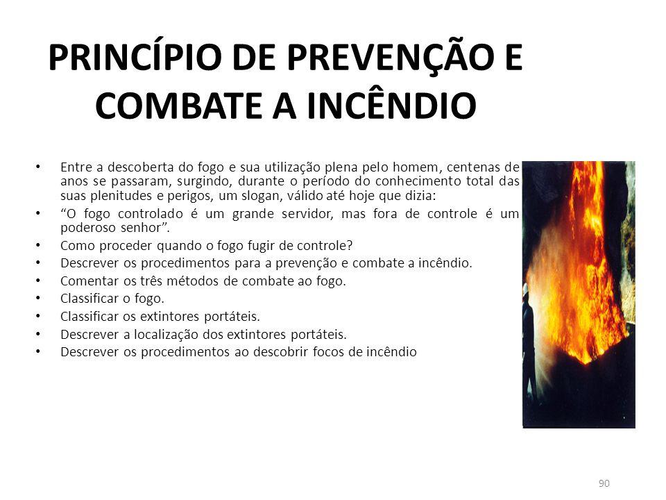 PRINCÍPIO DE PREVENÇÃO E COMBATE A INCÊNDIO