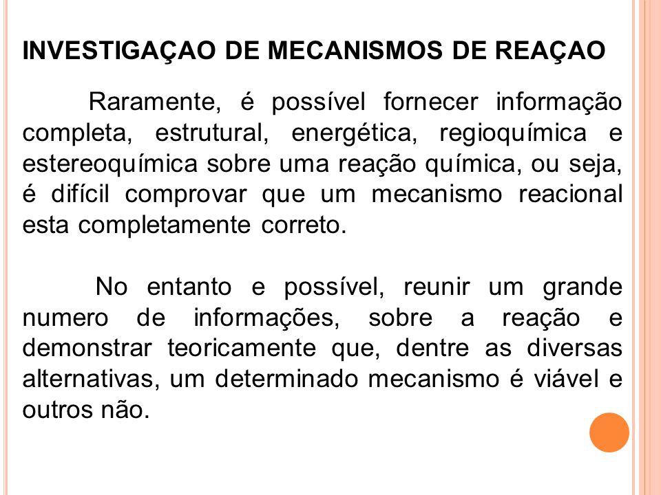 INVESTIGAÇAO DE MECANISMOS DE REAÇAO