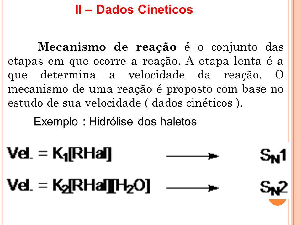 II – Dados Cineticos