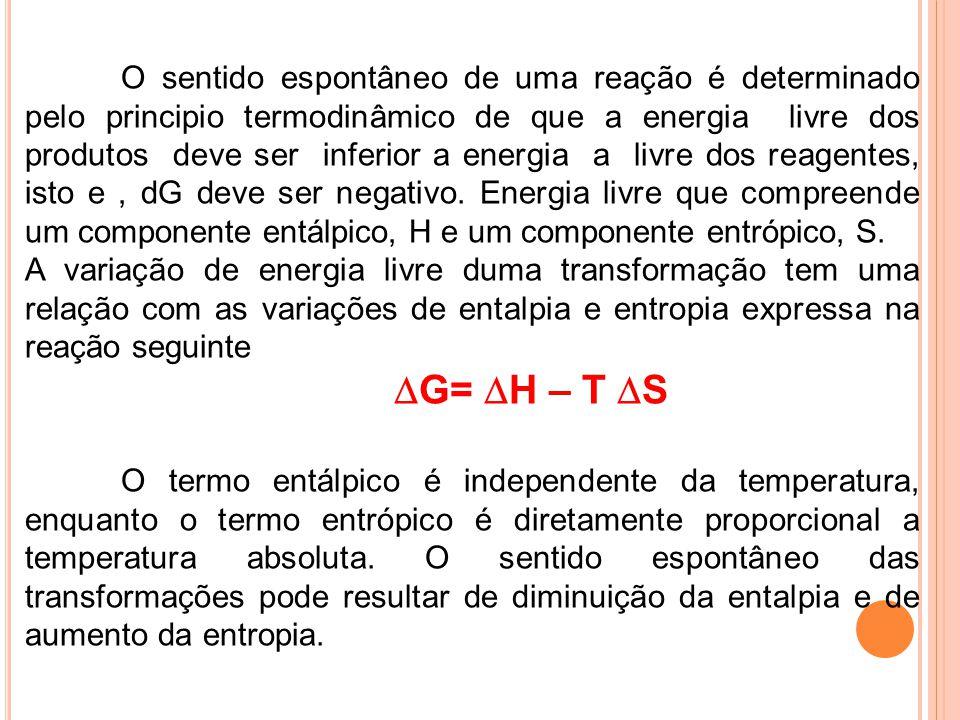 O sentido espontâneo de uma reação é determinado pelo principio termodinâmico de que a energia livre dos produtos deve ser inferior a energia a livre dos reagentes, isto e , dG deve ser negativo. Energia livre que compreende um componente entálpico, H e um componente entrópico, S.