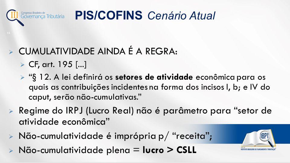 PIS/COFINS Cenário Atual